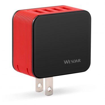 Cargador Wesdar 4 Puertos Ac11 Black + Red