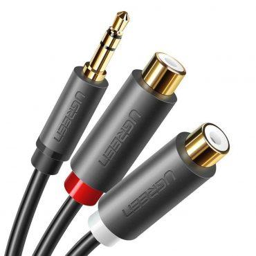 Cable Ugreen 3.5 Macho A 2 Rca Hembra 0.25m